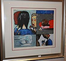 Charles Blackman limited edition silk screen, Quartette, signed 86cm x 91cm ( Including Frame)