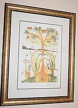 A Mad Tea Party, facsimile signed limited edition offset lithograph after Salvador Dali 100cm x 77.5cm ( Including Frame)
