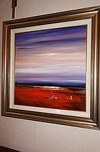 Colin Parker oil on board, Desert Folk, signed (large) 80cm x 79.5cm ( Including Frame)