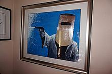 Mark Hanham acrylic, Fight the Power, signed 110cm x 130cm ( Including Frame)