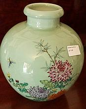 Chinese Porcelain Vase Decorated With Flowers And Butterflies Marks TO Base 24cm x 21cm