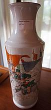 Chinese porcelain Vase Decorated With Warriors On Horse Back. Marks To Base 30cm x 11cm