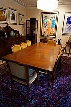 French Inspired Nine Piece Dining Suite Including Extension Dining Table, Six Chairs And Two Carvers With Yellow Upholstery