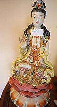 Chinese Porcelain Figure Of Quyin Highly Decorated 34cm x 15cm