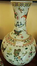 Chinese Porcelain Famille Rose Vase Decorated Flowers And Butterflies Marks To Base 40cm x 23cm