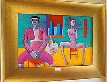 Constantine Popov oil on board, Matador and Nude Model, signed 51.5cm x 66.5cm ( Including Frame)