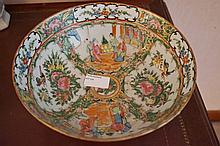 Chinese Famiile Rose Porcelain Bowl Highly Decorated With Figures Exotic Birds Etc. Marks To Base 10cm x 23cm