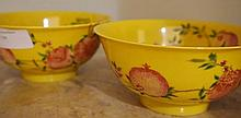 Pair Of Chinese Porcelain Bowls Decorated With Peaches Marks To Base 7cm x 15cm