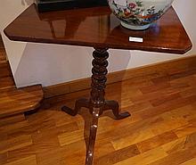 Victorian Cedar Tilt Top Wine Table On Turned Columned Stand 69cm Height