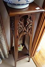French Mahogany Carved Plant Stand 113cm in Height
