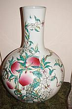 Large Chinese Famille Rose Porcelain Vase Decorated With Peach Trees Marks TO Base 55cm x 35cm