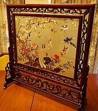 Chinese Antique Rosewood Screen With Silk Bird And Tree Decoration To Centre. 65cm x 62cm