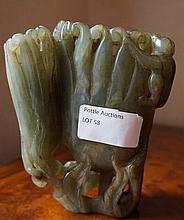 Chinese Jade Carved Brush Pot 10cm x 12cm