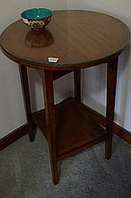 Edwardian Silky Oak Two Tier Table With GLass Top 75cm Height x 56cm Diameter