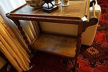 1920s Oak Barley Twist Two Tier Drinks Table 75cm x 85cm