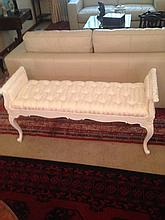 French Provincial Style Cream Buttoned Back Upholstered Carved Love Seat