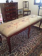 Mahogany French Style Long Stool With Chinese Style Upholstery