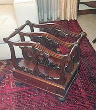 Victorian Style Mahogany Carved Canterbury With Single Drawer And On Feet