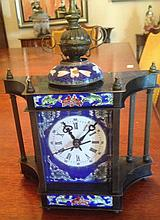 Beautiful Cloissonne Mantle Clock Supported By Columns