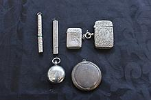 Good Collection Of Antique Silver Including Two Vesters,Powder Box,Sovereign Case,Cased Pencil And Cased Needle