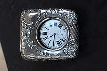 Antique Silver Hall Marked Pocket Watch Case With Pocket Watch
