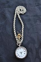 Antique Silver Hall Marked Pocket Watch With Enamel Face And On Silver Albert Chain, Two Keys Attached