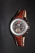 Breitling Bentley Motors Chronograph Mens Wrist Watch Automatic With Crocodile Skin Strap Ref A25362