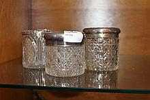 Three Antique Silver Hall Marked Lidded Crystal Powder Boxes, Two Decorated With Cherubs