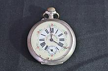 Antique Silver Ladies Pocket Watch With Enamel Face Decorated With Flowers