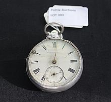 Antique Silver Hall Marked Pocket Watch With Enamel Face
