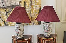 Pair of Chinese Lamps on Timber Bases