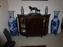 Rare Large Pair Of Blue And White Chinese Vases