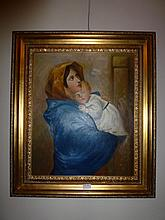 Framed oil on canvas, Mother & Child, bears the