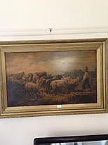 Antique Picture Of Farmer Boy With Sheep
