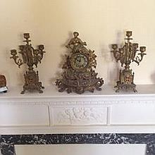 Louis XV Style Rococo Ormolu Three Piece Clock