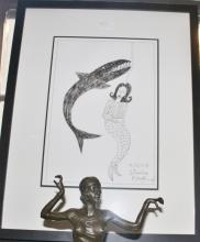 Charles Blackman ink drawing, Mermaid and Shark 2008, signed 68cm x 53cm Including Frame 43cm x 30cm Drawing Only