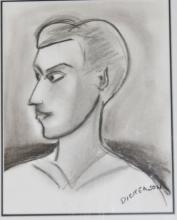 Robert Dickerson charcoal, The Local 2010, signed 62cm x 55cm including frame 33cm x 26cm pic only