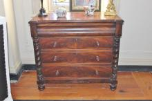Victorian Flamed Mahogany Chest of Drawers With Barley Twist Support 98cm x 107cm x 53cm