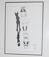 Charles Blackman ink drawing, Schoolgirl and Cat 2011, initialled 67cm x 63cm including frame  41 x 29.5cm pic only