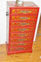 Oriental Small Chest of Eight Drawers, red lacquered