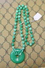 Beautiful Jade Green Jade Beaded Pendant Necklace