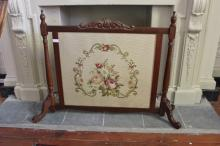 Vintage Mahogany Fire Screen With Embroidered Panel