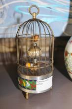 Cloisonne Bird Cage Clock 18cm in Height
