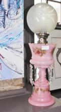 Victorian Kerosene Lamp With Crystal Drop