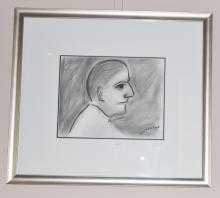 Robert Dickerson charcoal drawing, Inner City Commuter, signed 55cm x 62cm including Frame 26cm x 33cm Drawing Only