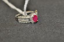 Diamond and Ruby 10ct White Gold Ring Ruby Surrounded by 20 Round Cut Diamonds