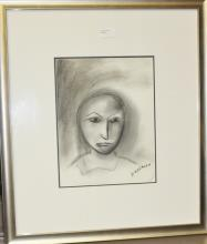 Robert Dickerson charcoal, Young Boy 2010, signed 33 x 26cm 62cm x 55cm Including Frame