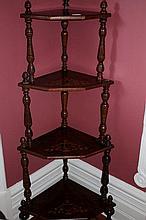 Victorian Burr-Walnut Inlayed Whatnot  147cm  H