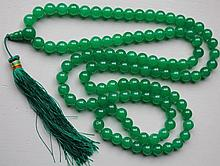 Strand Of Chinese Green Jade Beaded Necklace