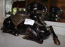 Chinese Bronze Incense Burner Of A Goat 14cm x 28c